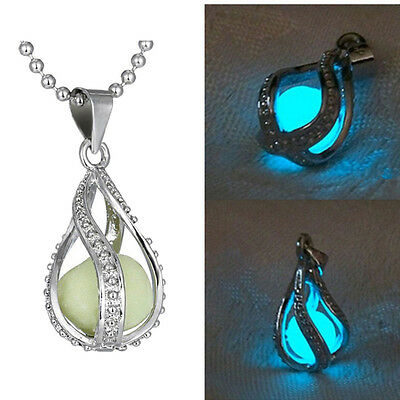 Fashion Women The Little Mermaid's Teardrop Glow in Dark Charm Pendant Necklace