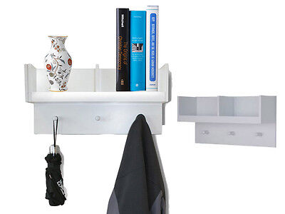 Wooden 2 Compartment Hallway Storage Book Shelf Hooks Wall Mounted Coat Umbrella