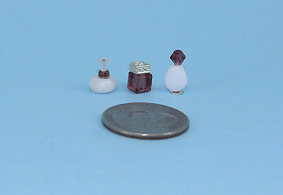 Beautiful Set of 3 Dollhouse Miniature Perfume Bottles for your Vanity #PS43