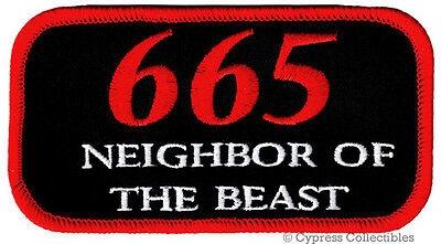 665 NEIGHBOR OF THE BEAST BIKER PATCH embroidered iron-on NAMETAG DEVIL 666 EVIL