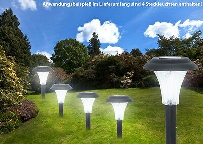 4er set led solar leuchten steck lampen au enleuchten weg beleuchtung lichter eur 14 90. Black Bedroom Furniture Sets. Home Design Ideas