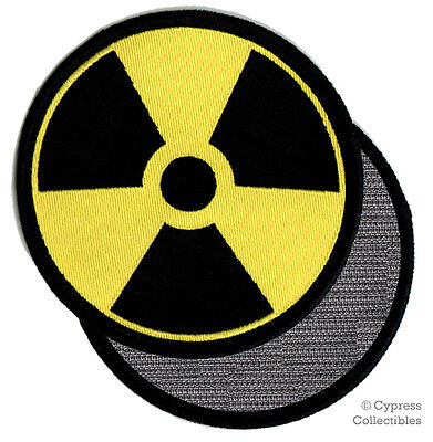 NUCLEAR RADIATION SYMBOL EMBROIDERED PATCH YELLOW LOGO w/ VELCRO® Brand Fastener