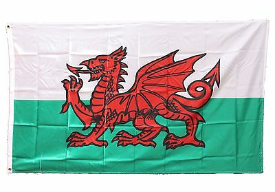NEW 2 x 5ft x 3ft Material Flags Wales Welsh Dragon Flag - Free P & P