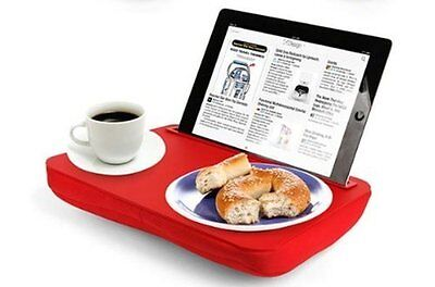 Kikkerland LAP DESK iBED Portable CUSHIONED Tablet STAND Tray - RED
