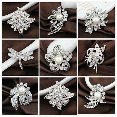 Clear Rhinestone Crystal Silver Wedding Bridal Party pearl Bouquet Brooch Pins