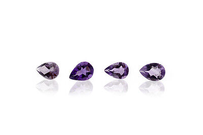 2.5 ct  7x5 mm 4 stones Pear Shape Purple Natural AMETHYST