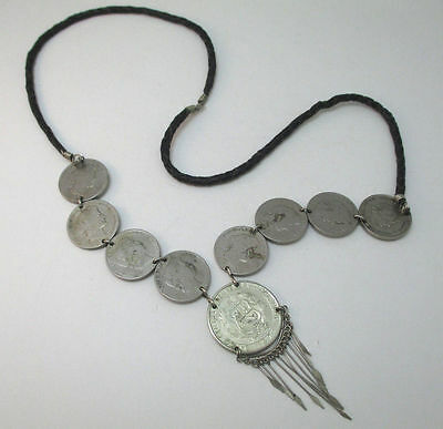 Unique Old Peruvian Coins On Woven Leather Necklace With Metal Fringe **