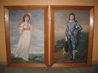 """Huge Vintage Blue Boy and Pinkie Paint By Number Paintings 32.5"""" X 22.5"""" Framed"""