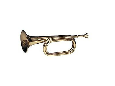 "Brass Army Military Funeral Taps Cavalry B-Flat Bugle 13"" Long With Mouthpiece"