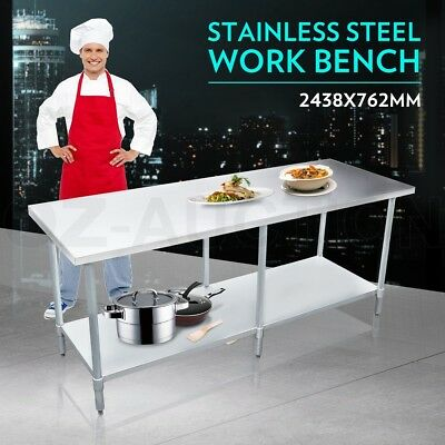 2438mm x 762mm New Stainless Steel Kitchen Work Bench Food Prep Catering Table