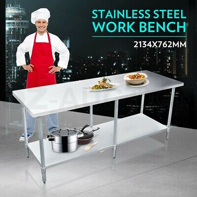 2134mm x 762mm New Stainless Steel Kitchen Work Bench Food Prep Catering Table