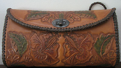 Vintage Floral Hibiscus Tooled Leather Fold Out Purse / Wallet