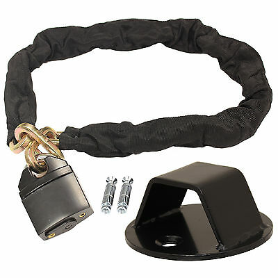 Ryde 1M Heavy Duty Motorcycle Chain Lock & Black Wall/ground Anchor Security