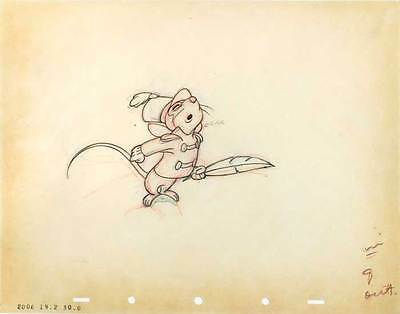 1941 Rare Original Walt Disney Dumbo Timothy Mouse #9 Production Cel Drawing Nr!