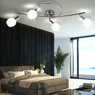 LED Design Lampe 4-flammig 16W Decken Leuchte Chrom EEK A+ Glas ...