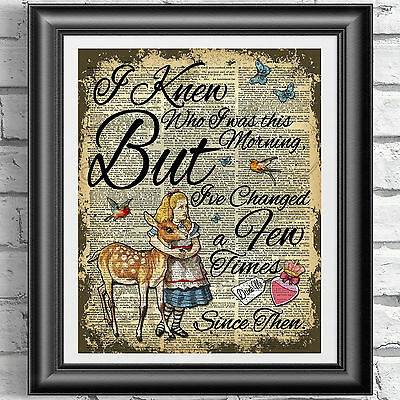 Original ART Print DICTIONARY ANTIQUE BOOK PAGE Alice in Wonderland fawn picture
