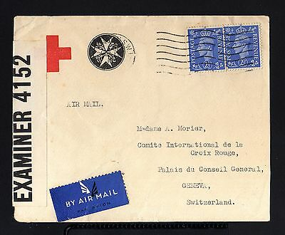 3264-ENGLAND-AIRMAIL CENSOR COVER LONDON to GENEVA(suisse)1947.WWII.Red Cross