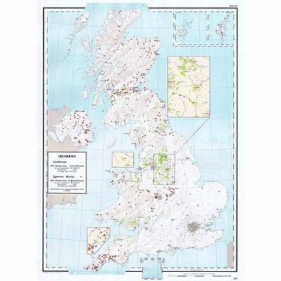 BRITISH ISLES Sandstone and Igneous Rocks Production - Vintage Map 1963