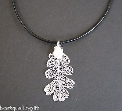 Silver Plated Real Lacey Oak Leaf Pendant+Fresh Water Pearl Leather Necklace