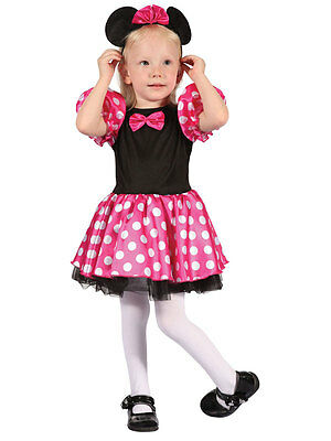 Girls Toddler Pink Mouse Halloween Fancy Dress Minnie Costume And Ears Age 2-3