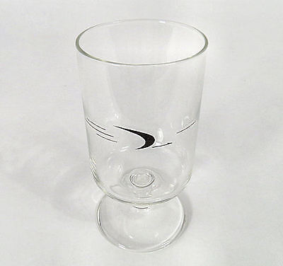 """FRONTIER  AIRLINES  (1950 / 1986)   WINE   GLASS  with  SIDE  LOGO  4 1/2"""" tall"""
