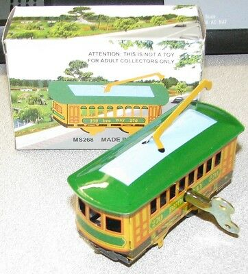 Chein Broadway New York Trolley Classic Wind Up Tin Toy Brand New