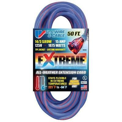 US Wire 98050 14/3 50-Foot SJEOW TPE Cold Weather Extension Cord Blue with