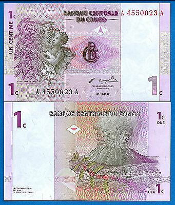 Congo P-80 One Centimes Year 1997 Valcano Uncirculated Banknote