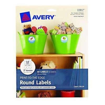 Avery Print-to-the-Edge Round Labels, Glossy White, 2 inch Diameter, Pack of 60