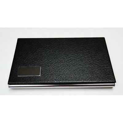 Tapp Collections Business Name Card Holder Steel Leather Wrap Case - Black New