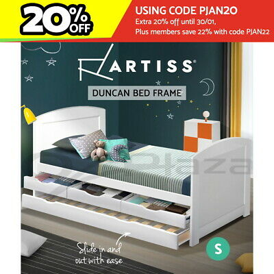 Artiss Single Wooden Timber Trundle Bed Frame DUNCAN Mattress Base Daybed Kids