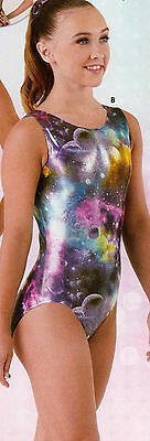 NWT Axis Gymnastic Dance Leotard Foil Galaxy Print Ladies Petite 97230
