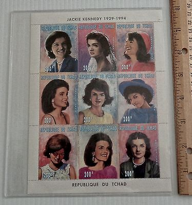 Limited Edition Block of Nine Jackie Kennedy Stamps, Chad, 1996, MNH, COA