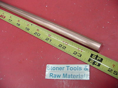"""5/8"""" C110 COPPER ROUND ROD 24"""" long H04 Solid .625"""" OD CU New Lathe Bar Stock"""