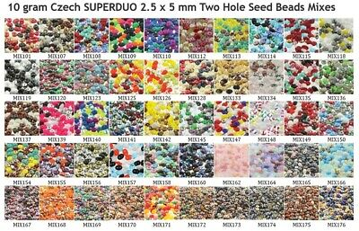 CLEARANCE 10 g or 24 g Czech SUPERDUO 2.5x5 mm Two Hole Seed Beads Mixes 1