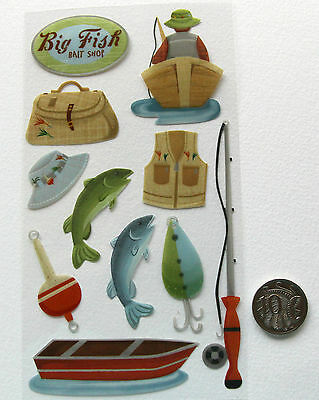SCRAPBOOKING NO 029 - 11 small to medium FISHING STICKERS