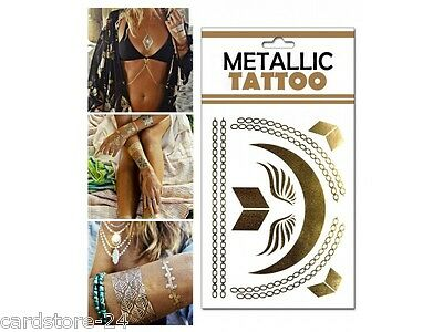 M7 Flash einmal Tattoo Gold Metall Temporary Henna Armband Hals Kette Body SET