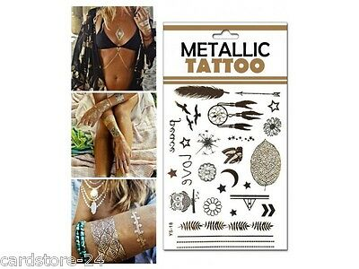 M12  Flash einmal Tattoo Gold Metall Temporary Henna Armband Hals Kette Body SET