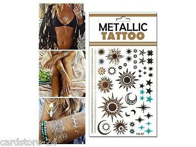 M21  Flash einmal Tattoo Gold Metall Temporary Henna Armband Hals Kette Body SET