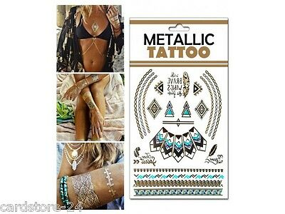 M25  Flash einmal Tattoo Gold Metall Temporary Henna Armband Hals Kette Body SET