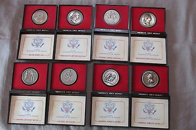 Lot of 8 America's First Medals, Pewter -US Mint, 1973, Original Boxes
