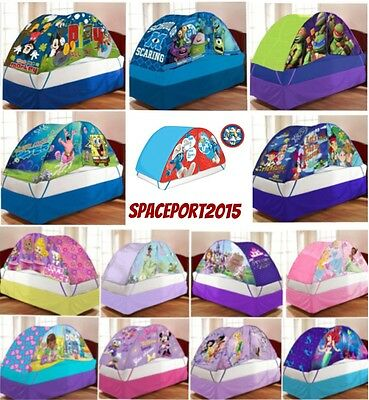 Kids Twin-Single Size BED TENT +PUSH Night LIGHT Lighted Canopy Playhut Room Set