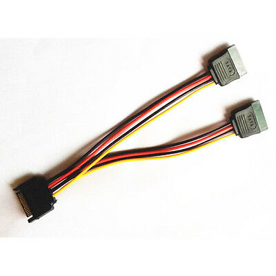 New 15-Pin SATA Male to 2x 15-PIN Female SATA Power Y-Splitter Extension Cable