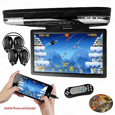 "XTRONS 15.6"" Car DVD CD Player Roof Mounted 1080P HDMI Video Slim Games Headset"