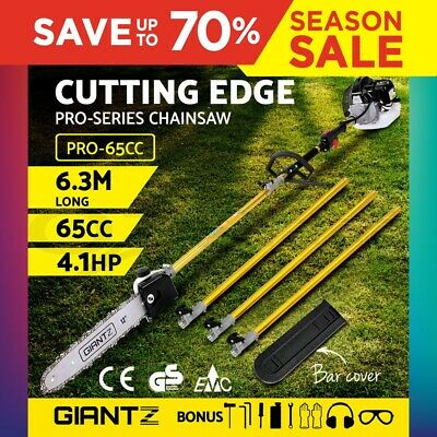 Giantz 65cc Pole Chainsaw Saw Brush Cutter Tree Hedge Pruner Petrol Brush Cutter