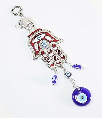 Turkish Blue Evil Eye Red Hamsa Hand Elephant Amulet Wall Hanging Protection