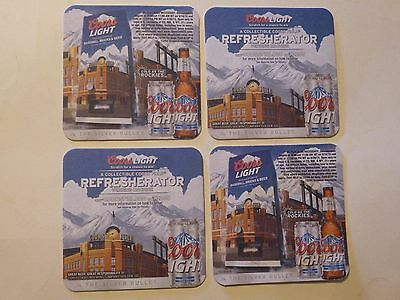4 Beer Coasters ~ Cold COORS Brewing Light, The Silver Bullet ~ Rockies Baseball