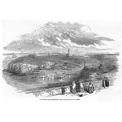 TYNEMOUTH View of the Harbour from the Priory - Antique Print 1850