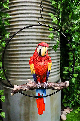 Patio Home & Garden Hanging Scarlet Macaw Parrot Perching on Branch Sculpture