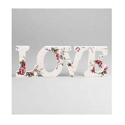 Sass & Belle Shabby Wooden  Floral Antoinette Chic Love Plaque Sign Gift Home